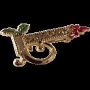 SALE vintage Christmas Candle Stick Brooch