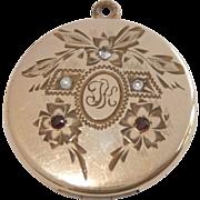 SALE Antique Art Nouveau  Gold Filled Paste Rhinestone Locket