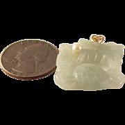 SALE 14K Jade Dragon pearl double sided Pendant