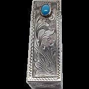 SALE 800 Coin Silver- Turquoise Stone/Ornate Lipstick case