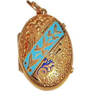 SALE Victorian Gold-Filled enameled Locket