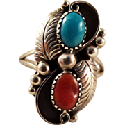 SOLD Turquoise Coral Sterling Silver Ring