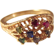 SALE Estate 14K Multi Gemstone ring fine jewelry