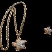 SALE Faux Seed Bead Pearl Starfish SET Necklace pierced Earrings