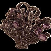 SALE Sterling Silver Amethyst Marcasite Basket Brooch/Pendant