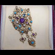 Vintage Faux seed pearl turquoise rhinestone brooch pendant