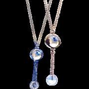 SALE Vintage Pools Of Light Rock Crystal Quartz Necklace 12mm Cut Glass Dangle