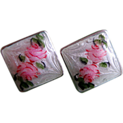 SALE Guilloche Sterling Silver Earrings With Hand Painted Roses