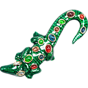 SALE Kenneth Jay Lane Enameled Alligator Brooch