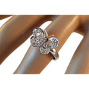 SALE Natural Diamond Butterfly 10K White Gold Ring