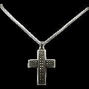 SALE Vintage  Sterling Silver Marcasite Cross Pendant/chain