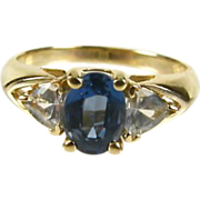 SALE 14k  Natural Blue Topaz White Topaz Ring