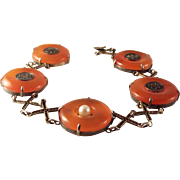 SALE Antique Chinese Red/Orange Jade Sterling Vermeil Bracelet