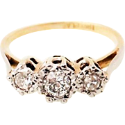 SALE Fine Art Deco 18k & platinum three stone 1/4 carat  Diamond ring