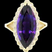 SALE 14k  Amethyst Ring w/ Diamond Halo