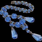 SALE 1/2 OFF Art Deco Czech Glass Dangle Necklace