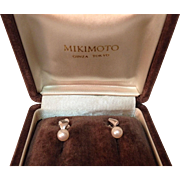 REDUCED Mikimoto Mid Century 5mm Cultured Pearl Screw Back Earrings