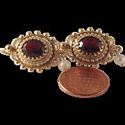 SALE Large Vintage 14k Garnet seed Pearl Earrings