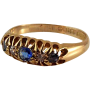 SALE Antique 18k Gold Diamond Sapphire Gemstone Ring