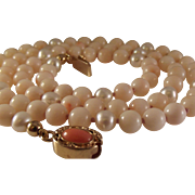 SALE Vintage Angel Skin Coral  Cultured Pearl Necklace  Vermeil Clasp