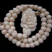 SALE 14K Vintage Angel Skin Carved Coral Necklace
