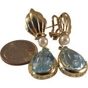 SALE 16 carat Large 14k Blue Topaz Pearl Drop earrings