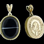 SALE Victorian Era Banded Agate GF Buckle Locket
