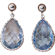 SALE 14K 6 ctw Blue Topaz Drop Earrings