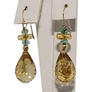 SALE 14K Natural Citrine Emerald Briolette Drop Earrings