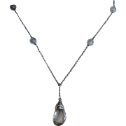 SALE Antique Victorian Rock Quartz Pools of Light Sterling Pendant/Necklace