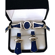 SALE STORE WIDE Lapis Lazuli 950 Silver Bracelet with Matching Pierced Earrings