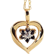 SALE STORE WIDE 10k Gold Two-Tone Spinel Heart Necklace