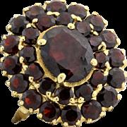 SALE Art Nouveau 18k Yellow Gold 18.67 C Bohemian Garnet Cluster Ring