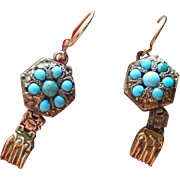 REDUCED Antique 14K Turquoise/ Pinchbeck Gold earrings