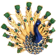SALE STORE WIDE Iconic BOUCHER Signed Peacock Enamel Brooch Book Piece