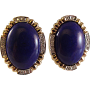 SALE 10-70% OFF STORE WIDE 14K Lapis Lazuli Diamond Pierced Earrings