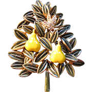 SALE CLEARANCE RARE Cadoro Partridge in a Pear Christmas Tree Brooch BOOK PIECE