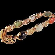 SALE STORE WIDE 14K  Multi Color Jade Jadeite Character Bracelet