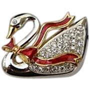 SALE STORE WIDE Vintage Swan Signed Swarovski Red Enamel Rhinestone Swan Brooch original Box .