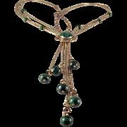SALE STORE WIDE Vintage Sterling Malachite Tassel Necklace