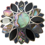 Vintage Taxco Silver Peacock Abalone Brooch Pendant