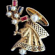 SALE 14K Vintage Ruby Sapphire pearl Geisha Figural Brooch pin