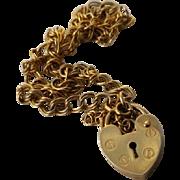 9ct Padlock Charm Bracelet - Hallmarked 375 Fine Double link