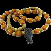 "SALE 800 Silver Bone Butterscotch Amber Bakelite Tribal Necklace 30"""