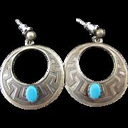 SALE Sterling Turquoise Hoop Earrings