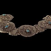SALE Vintage Austrian Silver Turquoise Bracelet