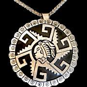 SALE STORE WIDE Sterling Taxco Old Eagle Symbol Medallion Pendant Brooch