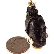 SALE 18K Carved 3-D Blackamoor Head Pendant Charm