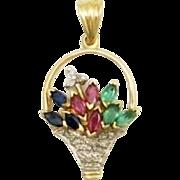 SALE 14K Ruby Diamond Sapphire Emerald Basket of flowers Pendant