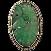 REDUCED 14K Walter Lampl  Art Deco Natural Jade Jadeite Signed Ring